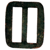A buckle from the band around a Kepi hat, the typical slouchy cap of an enlisted soldier.