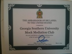 The club was recognized by Sri Lankan Ambassador to the United States Jaliya Wickramasuriya on May 6, 2014 for training a Sri Lankan mediation team that placed 7th in the world at an international tournament